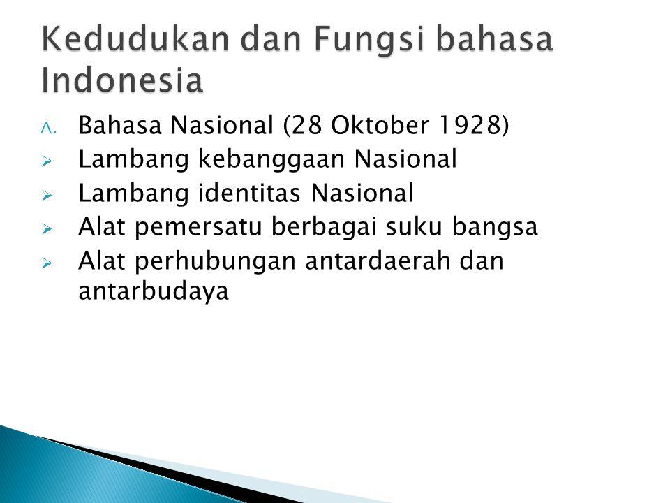 A. Bahasa Nasional (28 Oktober 1928)  Lambang kebanggaan Nasional  Lambang identitas Nasional  Alat pemersatu berbagai suku bangsa  Alat perhubung
