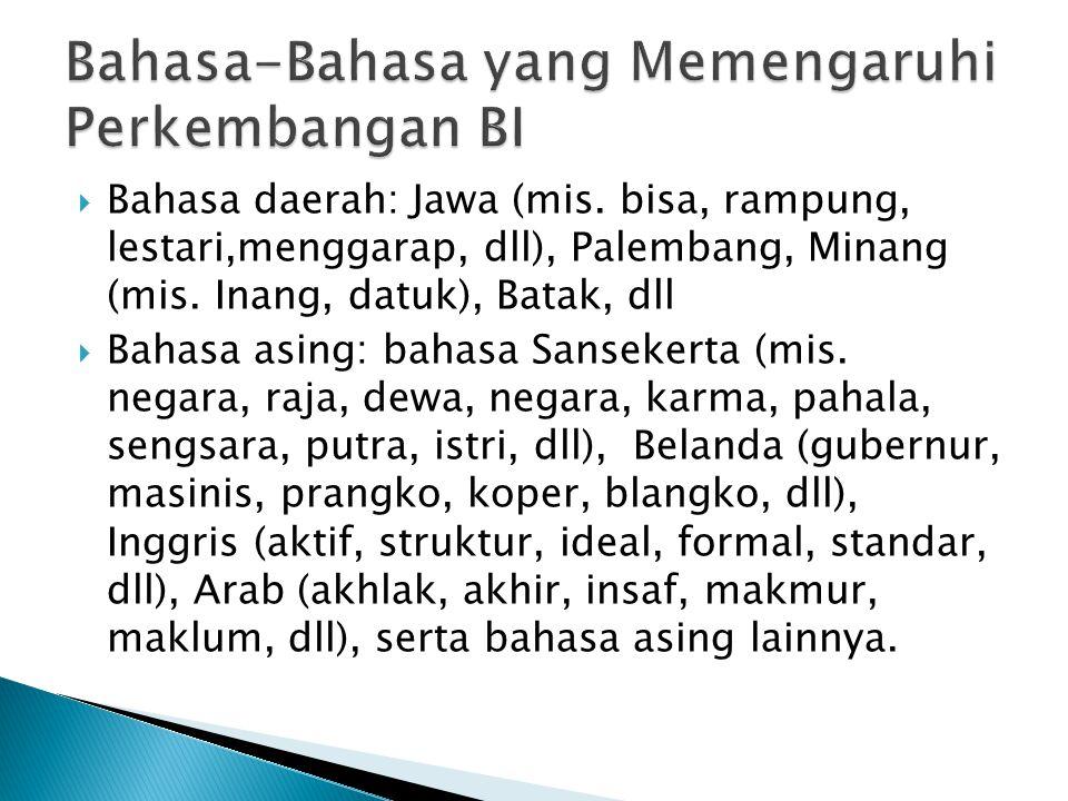  Bahasa daerah: Jawa (mis. bisa, rampung, lestari,menggarap, dll), Palembang, Minang (mis. Inang, datuk), Batak, dll  Bahasa asing: bahasa Sansekert