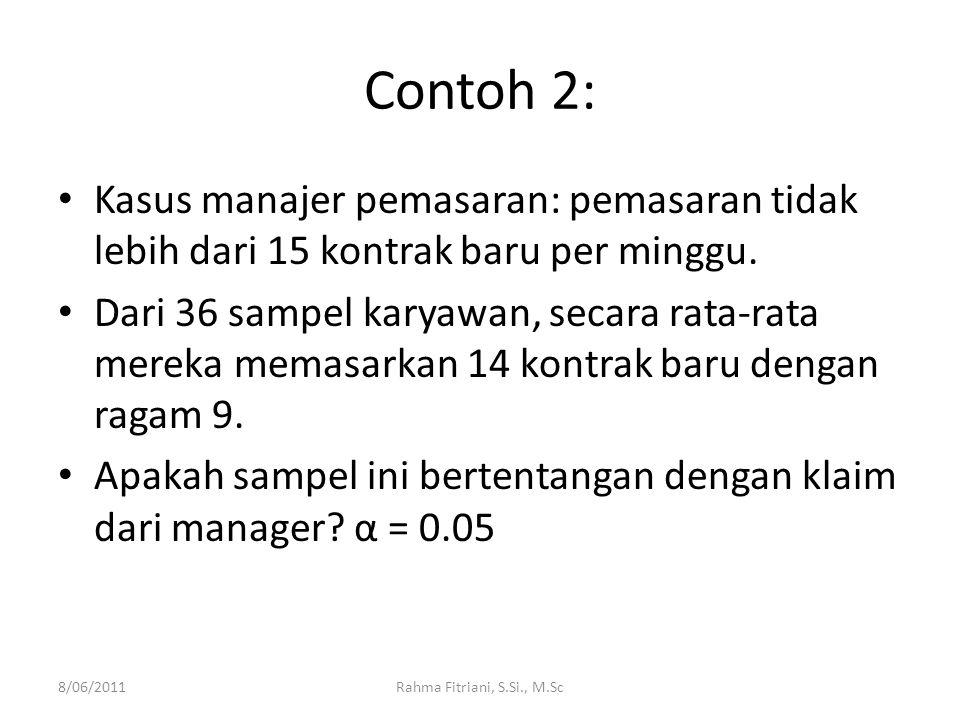Contoh 2: Kasus manajer pemasaran: pemasaran tidak lebih dari 15 kontrak baru per minggu.