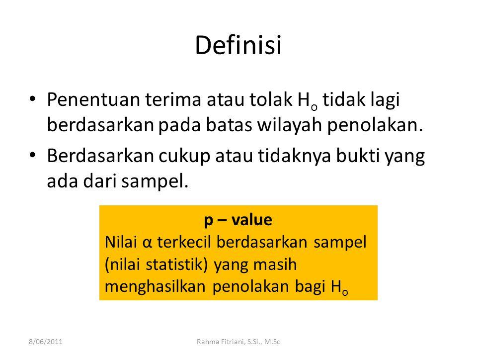 Definisi Penentuan terima atau tolak H o tidak lagi berdasarkan pada batas wilayah penolakan.