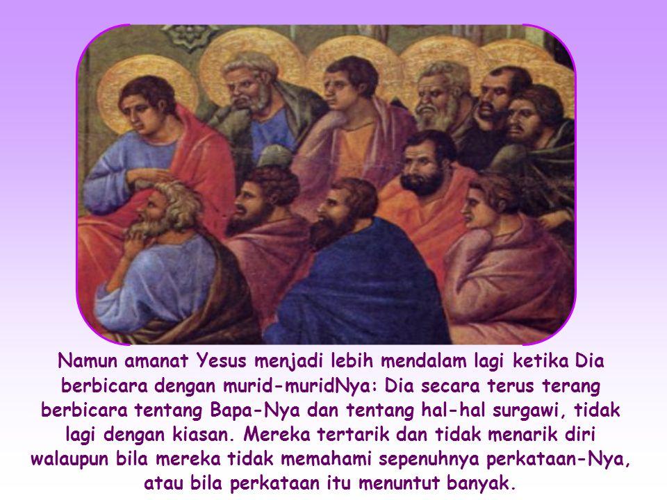 Dalam Injil Yohanes juga terdapat pembicaraan- pembicaraan yang penuh hikmat dengan orang-orang tertentu, misalnya dengan Nikodemus atau wanita Samaria.
