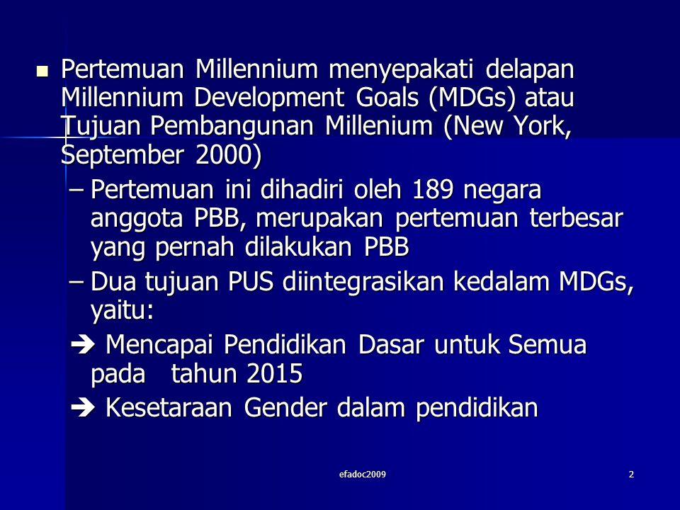 efadoc20092 Pertemuan Millennium menyepakati delapan Millennium Development Goals (MDGs) atau Tujuan Pembangunan Millenium (New York, September 2000) Pertemuan Millennium menyepakati delapan Millennium Development Goals (MDGs) atau Tujuan Pembangunan Millenium (New York, September 2000) –Pertemuan ini dihadiri oleh 189 negara anggota PBB, merupakan pertemuan terbesar yang pernah dilakukan PBB –Dua tujuan PUS diintegrasikan kedalam MDGs, yaitu:  Mencapai Pendidikan Dasar untuk Semua pada tahun 2015  Kesetaraan Gender dalam pendidikan