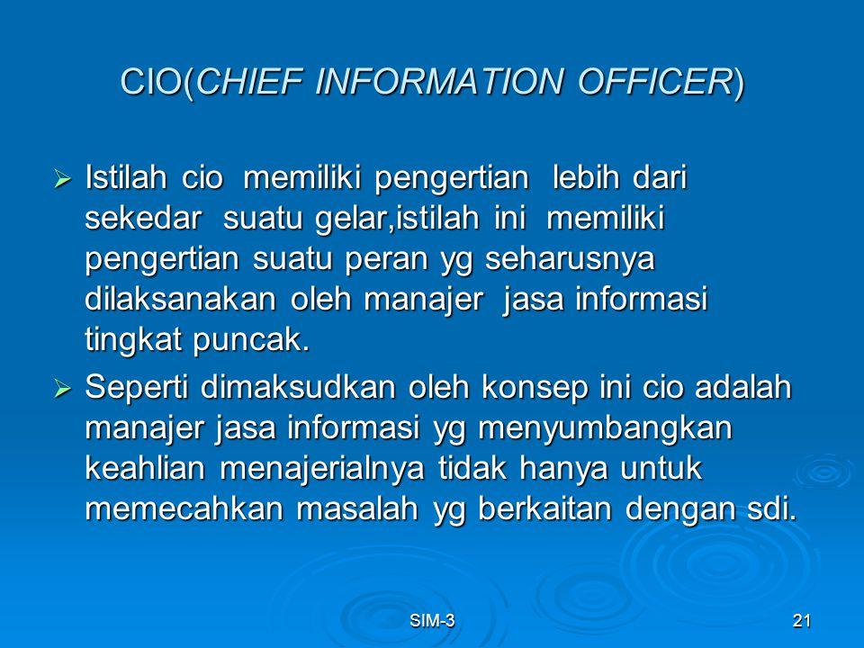 SIM-321 CIO(CHIEF INFORMATION OFFICER)  Istilah cio memiliki pengertian lebih dari sekedar suatu gelar,istilah ini memiliki pengertian suatu peran yg