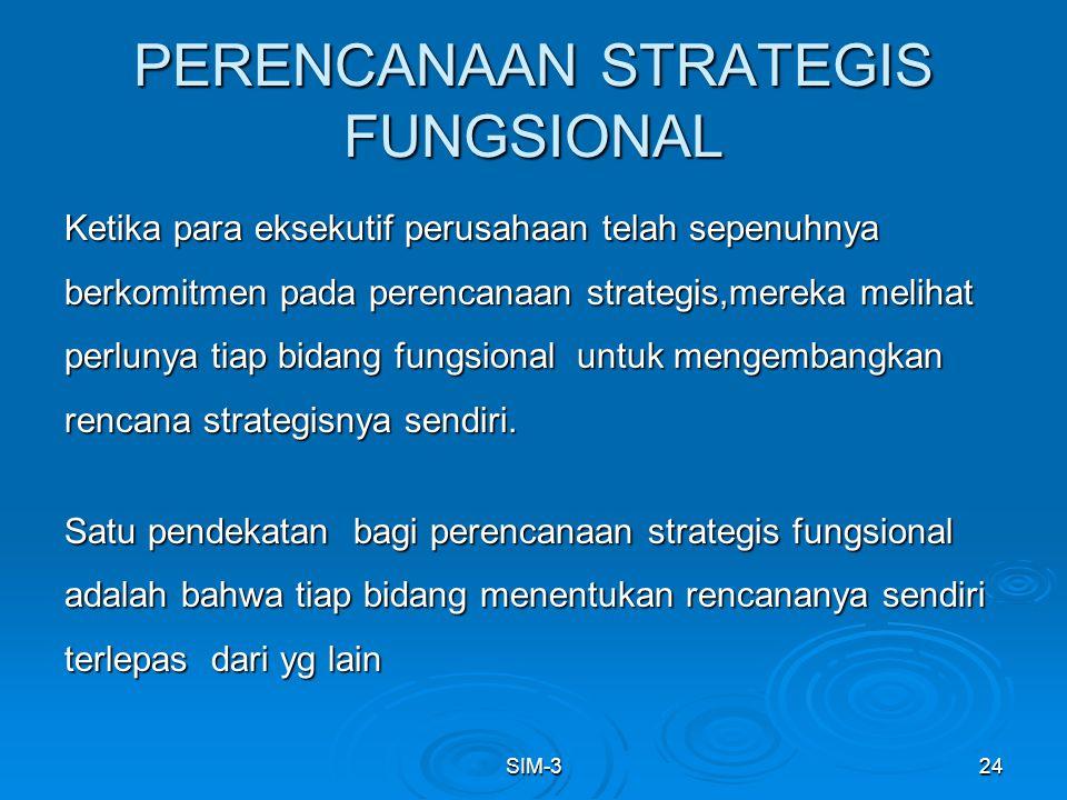 SIM-324 PERENCANAAN STRATEGIS FUNGSIONAL Ketika para eksekutif perusahaan telah sepenuhnya berkomitmen pada perencanaan strategis,mereka melihat perlu
