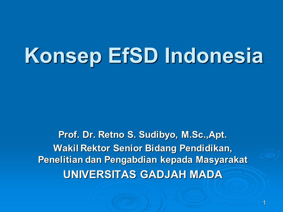 1 Konsep EfSD Indonesia Prof. Dr. Retno S. Sudibyo, M.Sc.,Apt. Wakil Rektor Senior Bidang Pendidikan, Penelitian dan Pengabdian kepada Masyarakat UNIV