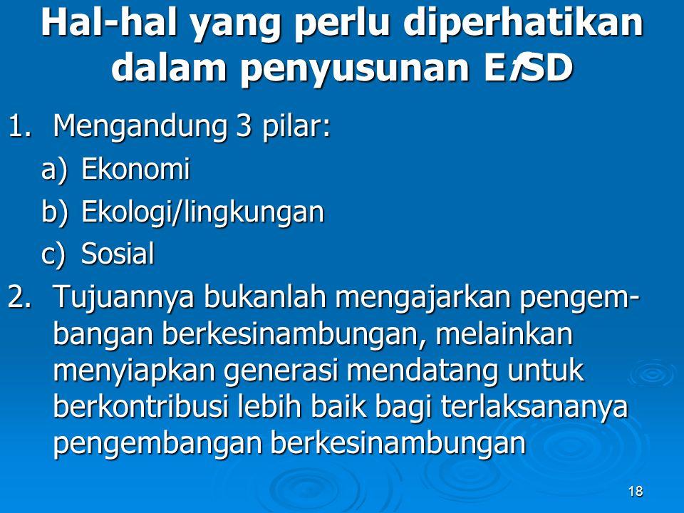18 Hal-hal yang perlu diperhatikan dalam penyusunan EfSD 1.Mengandung 3 pilar: a)Ekonomi b)Ekologi/lingkungan c)Sosial 2.Tujuannya bukanlah mengajarka