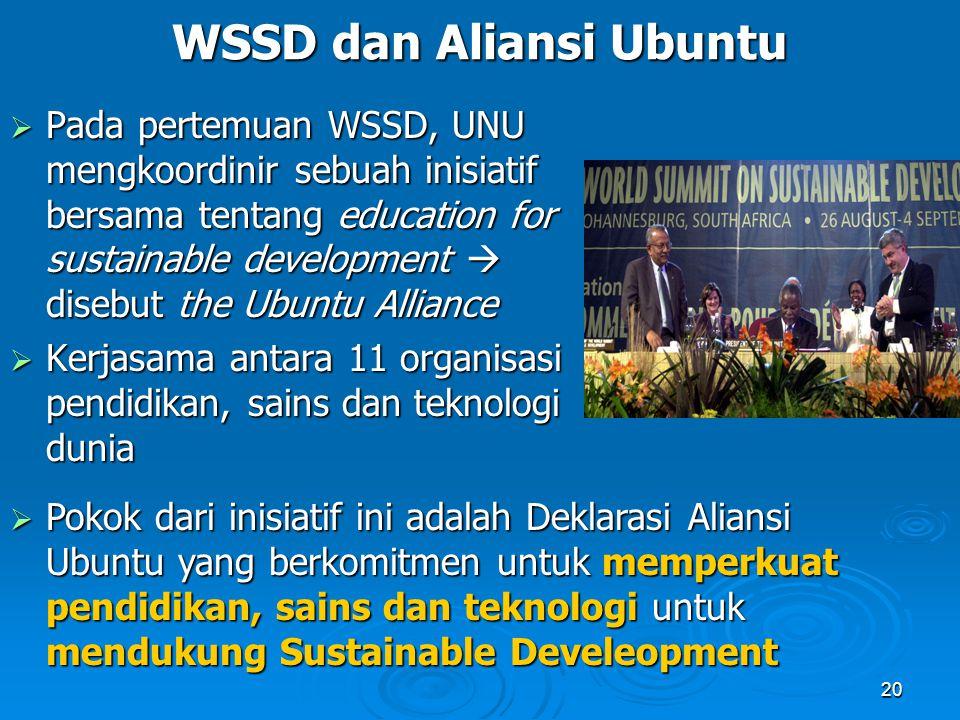 20 WSSD dan Aliansi Ubuntu  Pada pertemuan WSSD, UNU mengkoordinir sebuah inisiatif bersama tentang education for sustainable development  disebut t
