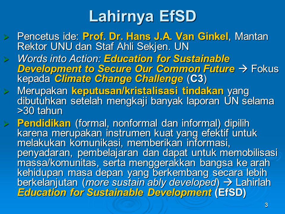 3 Lahirnya EfSD  Pencetus ide: Prof. Dr. Hans J.A. Van Ginkel, Mantan Rektor UNU dan Staf Ahli Sekjen. UN  Words into Action: Education for Sustaina