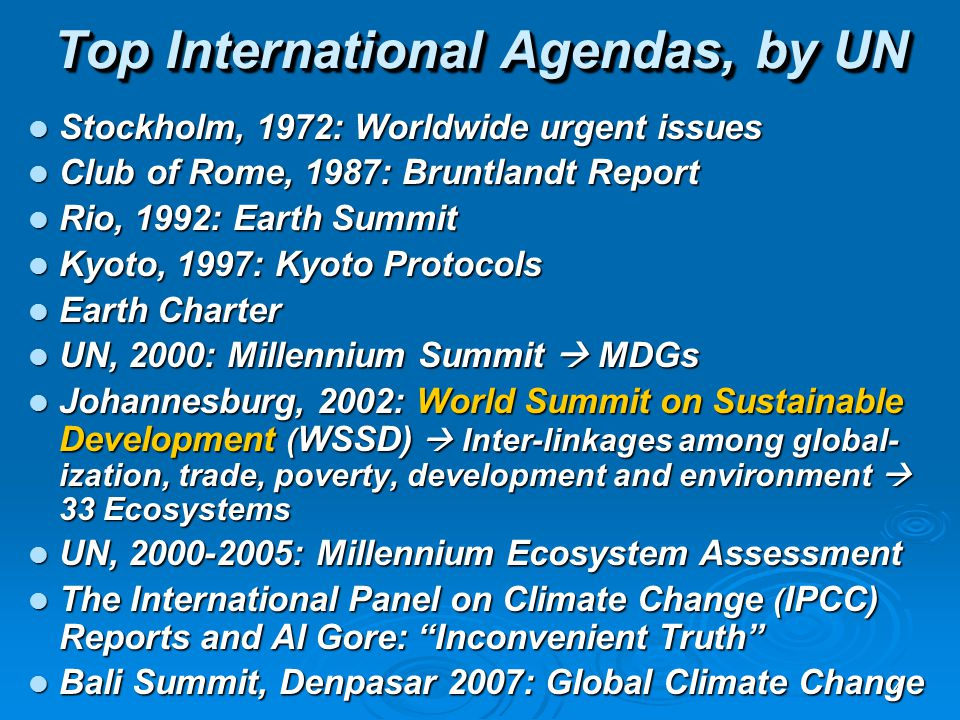 4 Stockholm, 1972: Worldwide urgent issues Stockholm, 1972: Worldwide urgent issues Club of Rome, 1987: Bruntlandt Report Club of Rome, 1987: Bruntlan