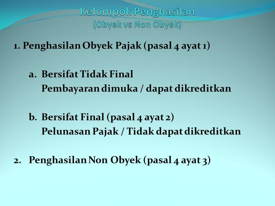 1. Penghasilan Obyek Pajak (pasal 4 ayat 1) a. Bersifat Tidak Final Pembayaran dimuka / dapat dikreditkan b. Bersifat Final (pasal 4 ayat 2) Pelunasan