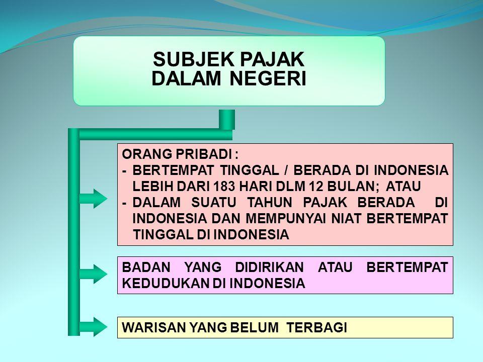 7 SUBJEK PAJAK DALAM NEGERI ORANG PRIBADI MULAI : - SAAT DILAHIRKAN - SAAT BERADA ATAU BERNIAT TINGGAL DI INDONESIA BERAKHIR : - SAAT MENINGGAL - MENINGGALKAN INDONESIA UNTUK SELAMANYA.