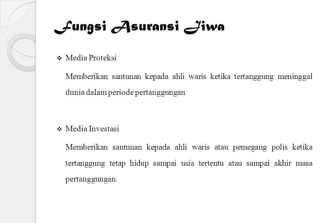 Fungsi Asuransi Jiwa  Media Proteksi Memberikan santunan kepada ahli waris ketika tertanggung meninggal dunia dalam periode pertanggungan  Media Inv