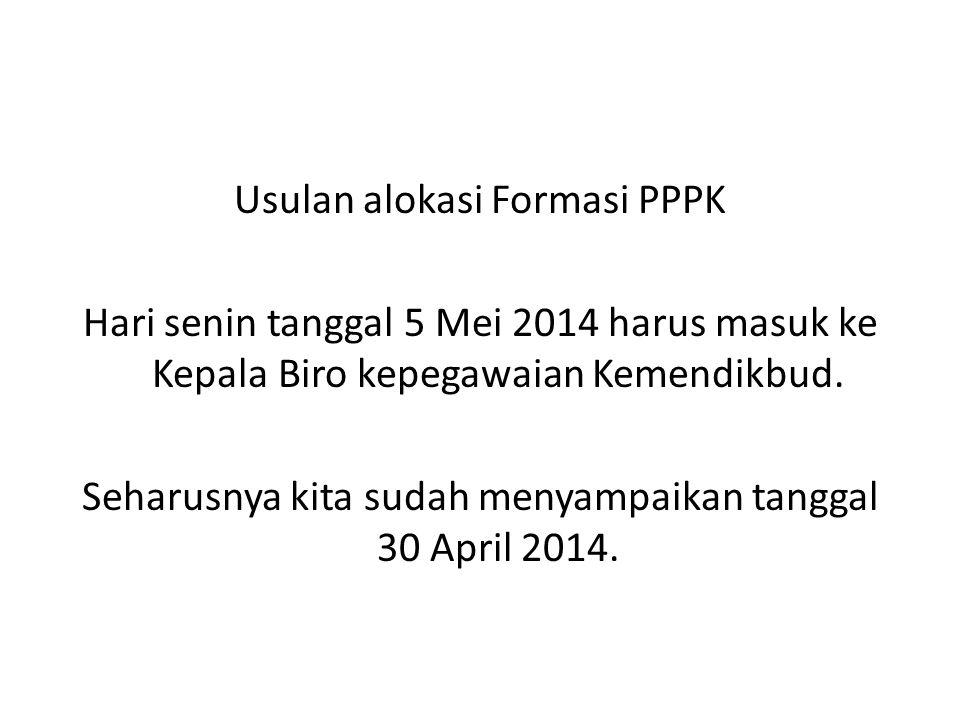 Usulan alokasi Formasi PPPK Hari senin tanggal 5 Mei 2014 harus masuk ke Kepala Biro kepegawaian Kemendikbud. Seharusnya kita sudah menyampaikan tangg