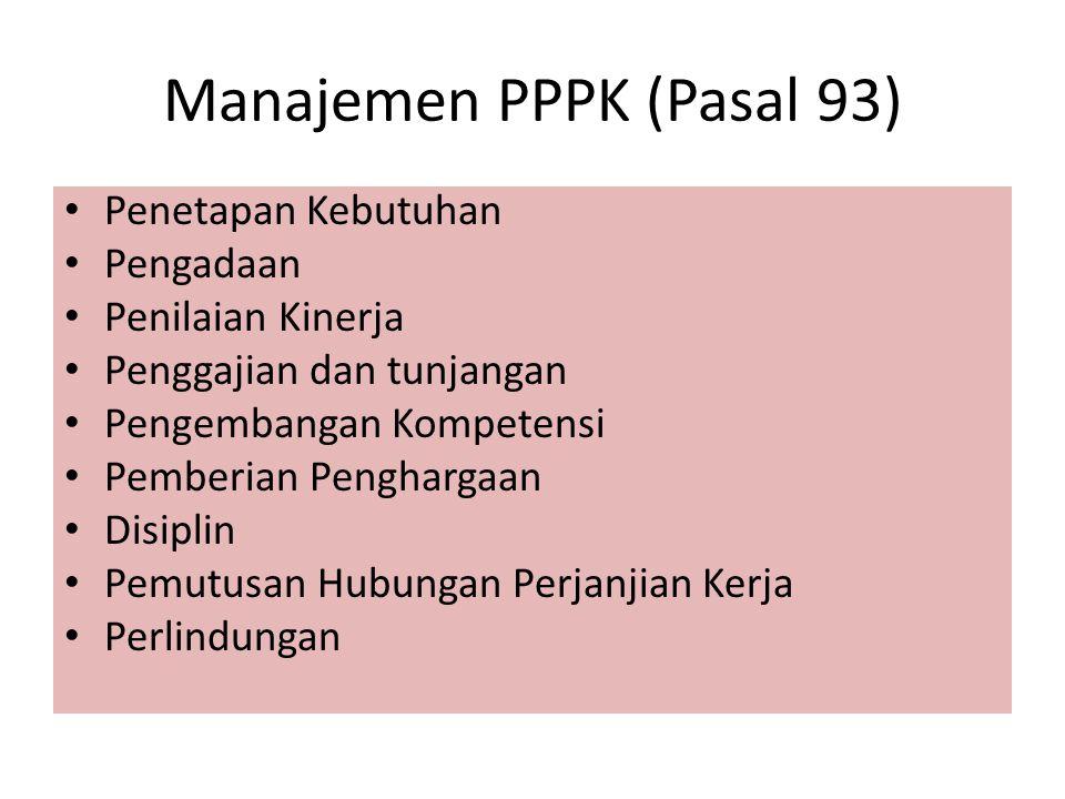 Manajemen PPPK (Pasal 93) Penetapan Kebutuhan Pengadaan Penilaian Kinerja Penggajian dan tunjangan Pengembangan Kompetensi Pemberian Penghargaan Disip