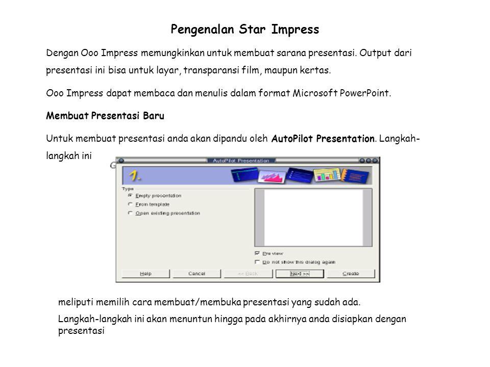 Pengenalan Star Impress Dengan Ooo Impress memungkinkan untuk membuat sarana presentasi.