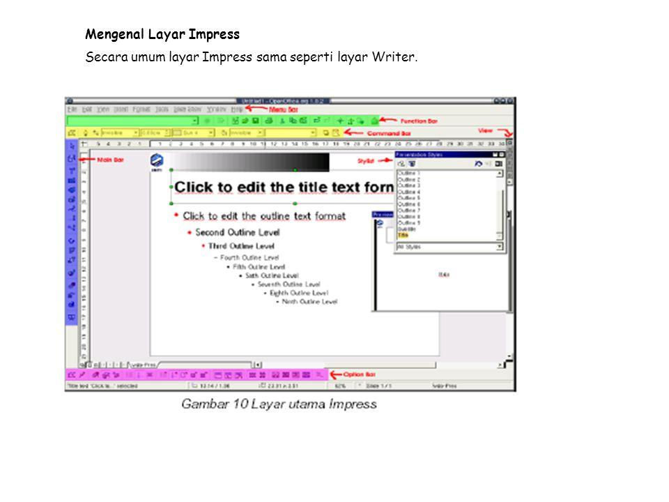 Mengenal Layar Impress Secara umum layar Impress sama seperti layar Writer.
