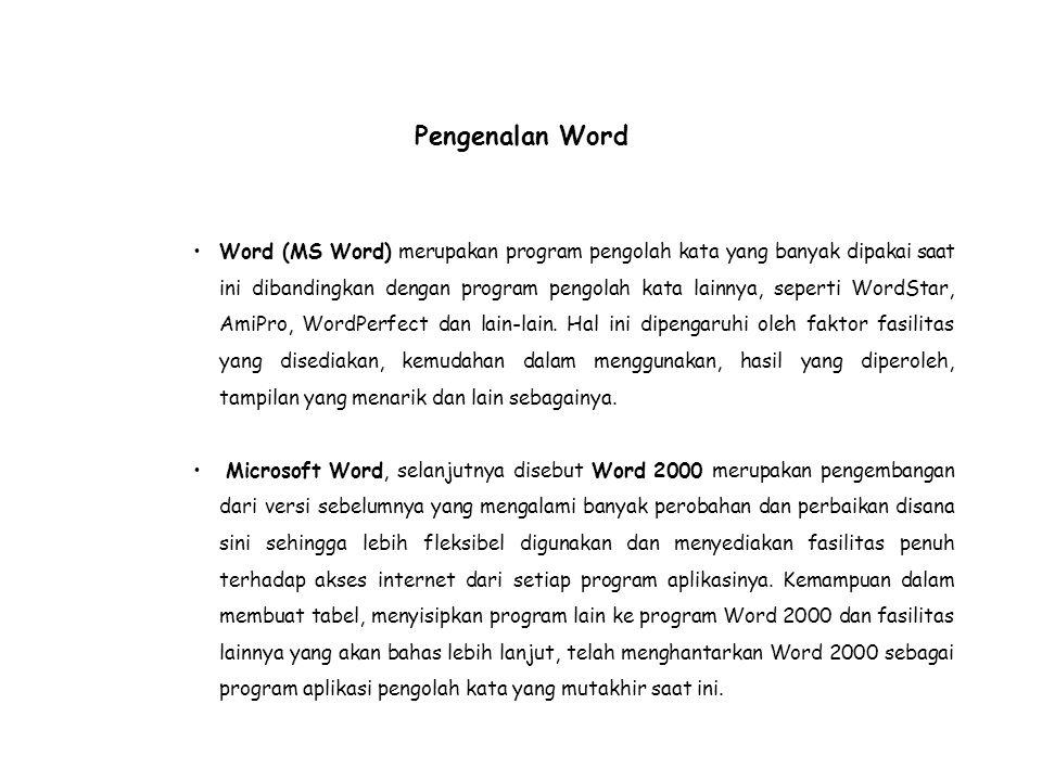 Pengenalan Word Word (MS Word) merupakan program pengolah kata yang banyak dipakai saat ini dibandingkan dengan program pengolah kata lainnya, seperti WordStar, AmiPro, WordPerfect dan lain-lain.