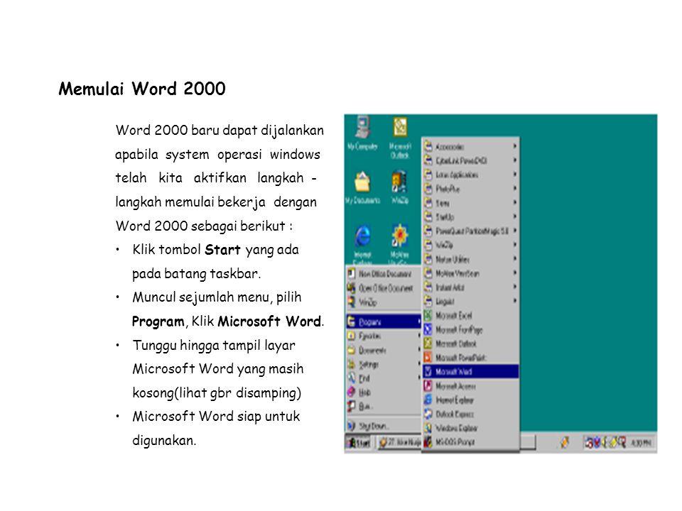 Mengenal Elemen Jendela MS-Word Setelah Word 2000 diaktifkan, maka akan tampil layar kosong dengan nama Document 1,seperti gambar disamping Menu Bar, berisi dftr menu yang dapat kita gunakan, dmn menu ini mempunyai sub menu masing -masing sesuai dengan fungsi dari menu induknya.