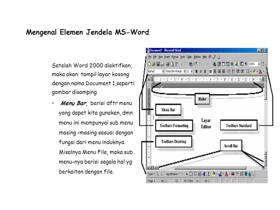 Toolbar Standar, merupakan kumpulan icon-icon standar yang disediakan oleh Word 2000 secara otomatis.