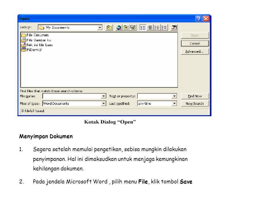 3.layar akan ditampilkan kotak dialog Save. Ketikkan nama file dokumen, dan klik Save.