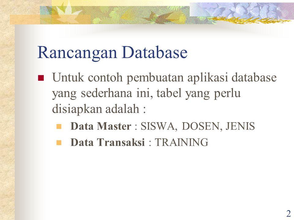 2 Rancangan Database Untuk contoh pembuatan aplikasi database yang sederhana ini, tabel yang perlu disiapkan adalah : Data Master : SISWA, DOSEN, JENI