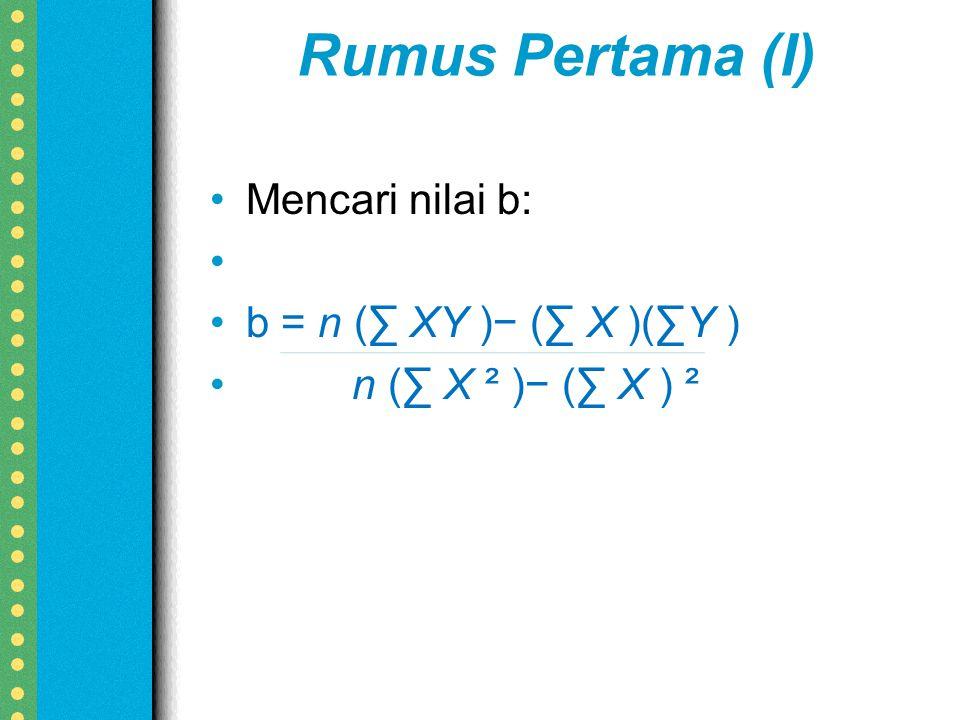 Rumus Pertama (I) Mencari nilai b: b = n (∑ XY )− (∑ X )(∑Y ) n (∑ X ² )− (∑ X ) ²