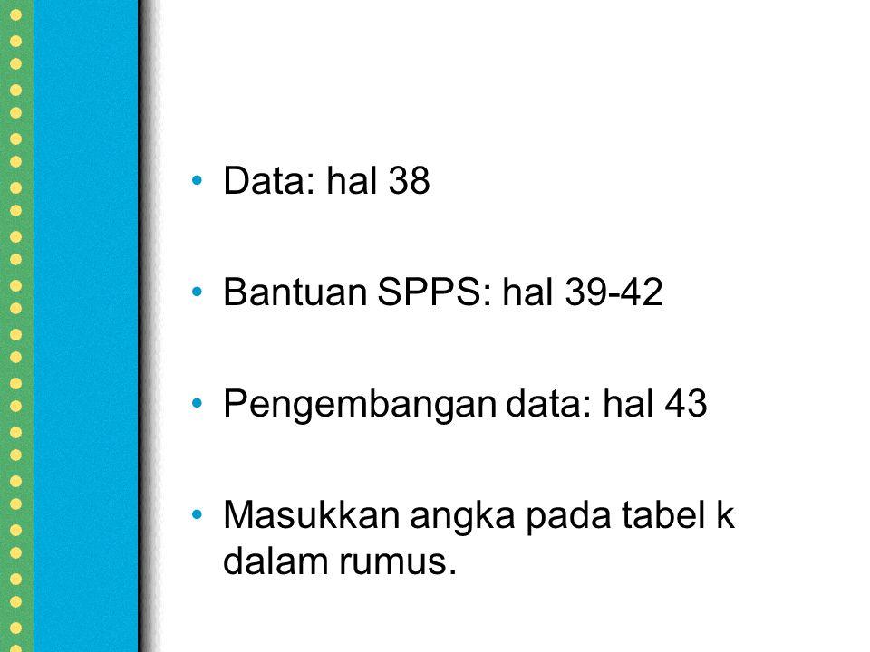 Data: hal 38 Bantuan SPPS: hal 39-42 Pengembangan data: hal 43 Masukkan angka pada tabel k dalam rumus.