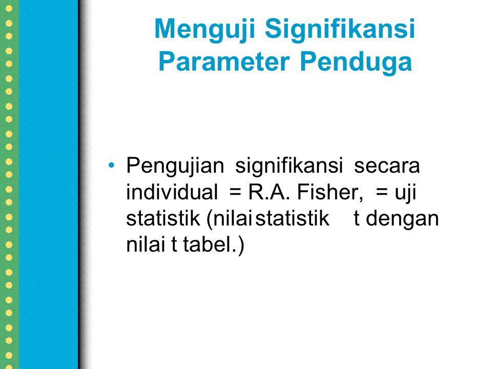Menguji Signifikansi Parameter Penduga Pengujian signifikansi secara individual = R.A.