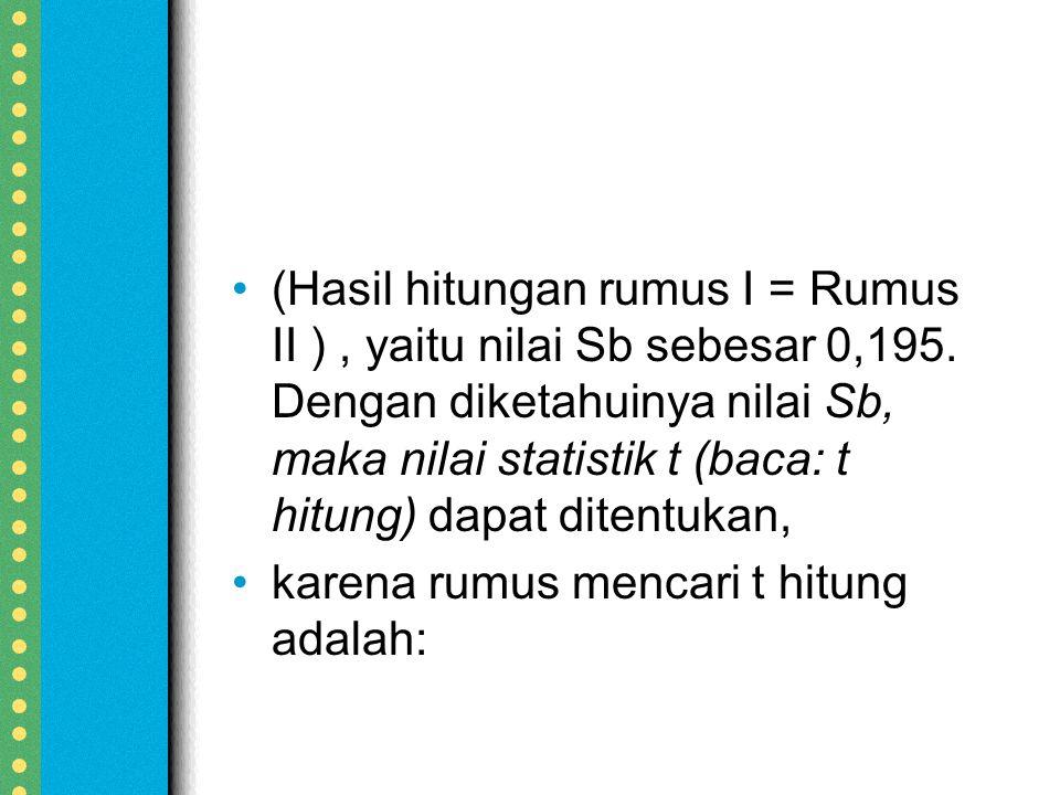 (Hasil hitungan rumus I = Rumus II ), yaitu nilai Sb sebesar 0,195.