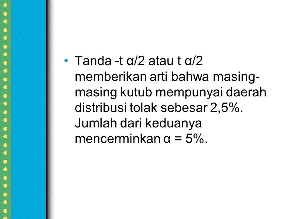 Tanda -t α/2 atau t α/2 memberikan arti bahwa masing- masing kutub mempunyai daerah distribusi tolak sebesar 2,5%.