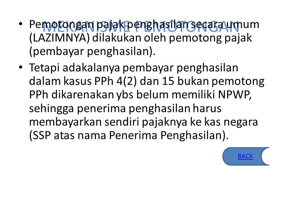 DASAR HUKUM PPh Pasal 4 (2) & 15 Pasal 4 ayat 2 UU PPh 36 tahun 2008 PP 15 tahun 2009, PP 16 tahun 2009, PP 17 tahun 2009, PP 19 tahun 2009 PP 71 tahun 2008 PP 51 tahun 2008 PP 29 tahun 1996 jo PP No.