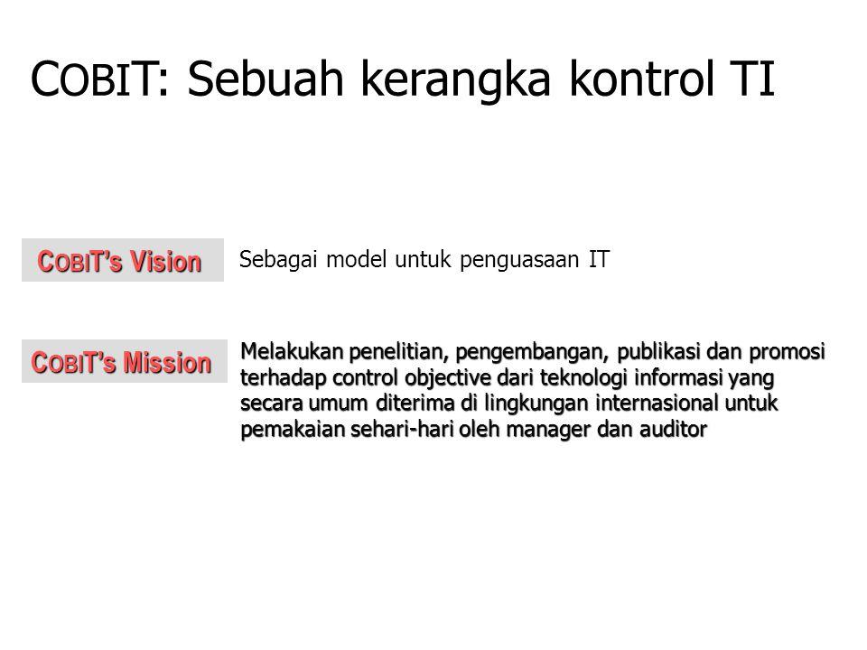 C OBI T's Mission C OBI T's Vision C OBI T's Vision Melakukan penelitian, pengembangan, publikasi dan promosi terhadap control objective dari teknolog