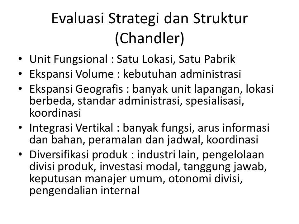 Evaluasi Strategi dan Struktur (Chandler) Unit Fungsional : Satu Lokasi, Satu Pabrik Ekspansi Volume : kebutuhan administrasi Ekspansi Geografis : ban