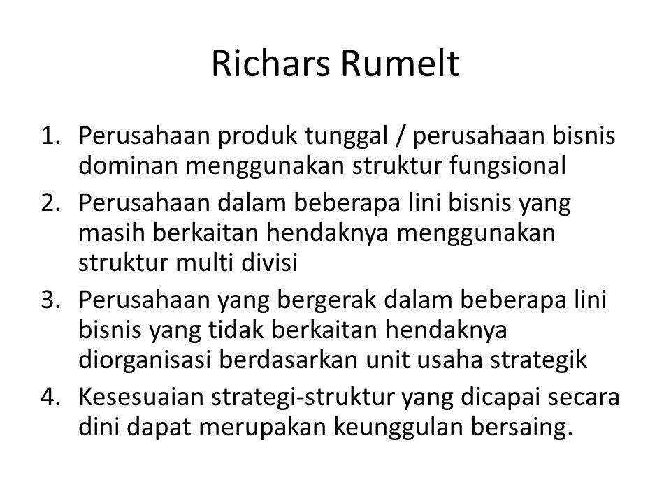 Richars Rumelt 1.Perusahaan produk tunggal / perusahaan bisnis dominan menggunakan struktur fungsional 2.Perusahaan dalam beberapa lini bisnis yang ma