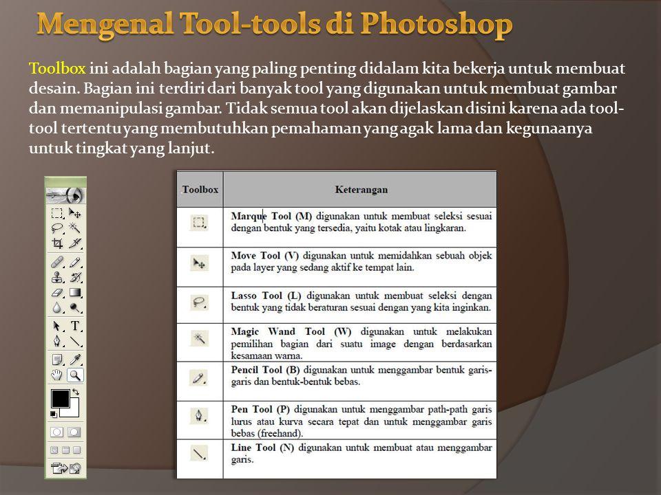 Toolbox ini adalah bagian yang paling penting didalam kita bekerja untuk membuat desain.