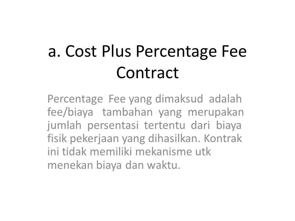 a. Cost Plus Percentage Fee Contract Percentage Fee yang dimaksud adalah fee/biaya tambahan yang merupakan jumlah persentasi tertentu dari biaya fisik