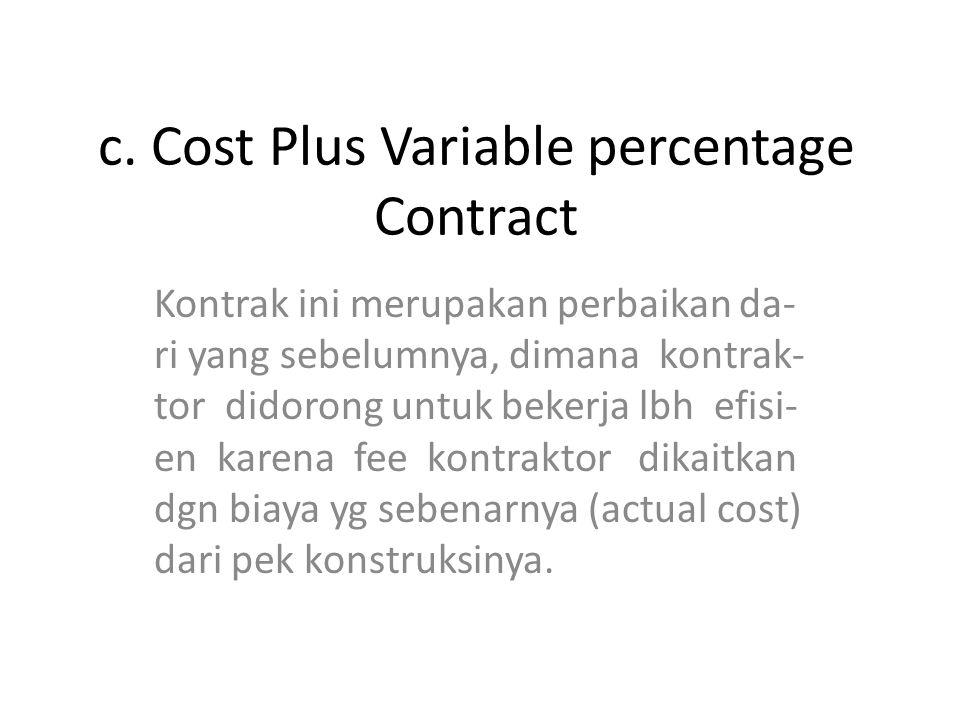 c. Cost Plus Variable percentage Contract Kontrak ini merupakan perbaikan da- ri yang sebelumnya, dimana kontrak- tor didorong untuk bekerja lbh efisi