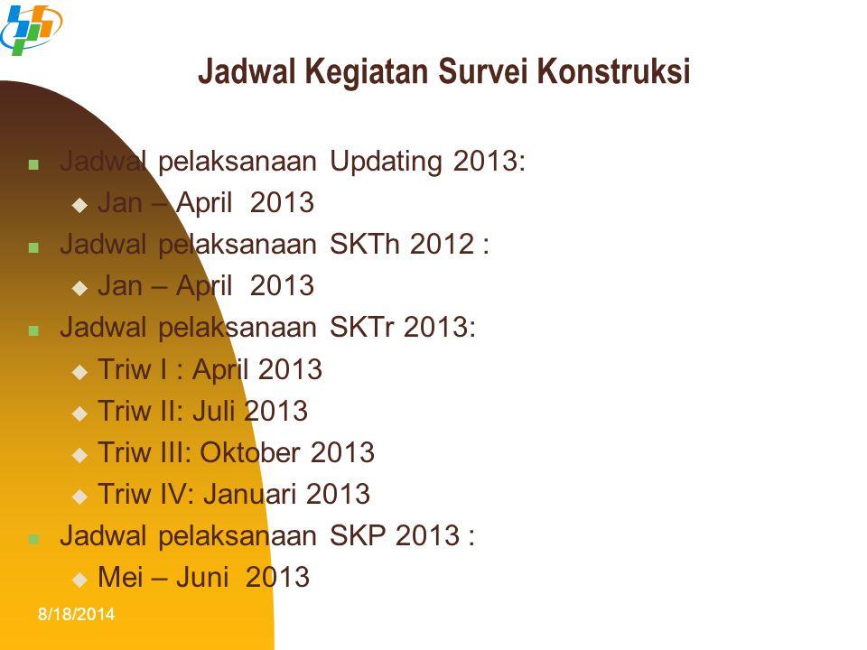 8/18/201417 Jadwal pelaksanaan Updating 2013:  Jan – April 2013 Jadwal pelaksanaan SKTh 2012 :  Jan – April 2013 Jadwal pelaksanaan SKTr 2013:  Tri