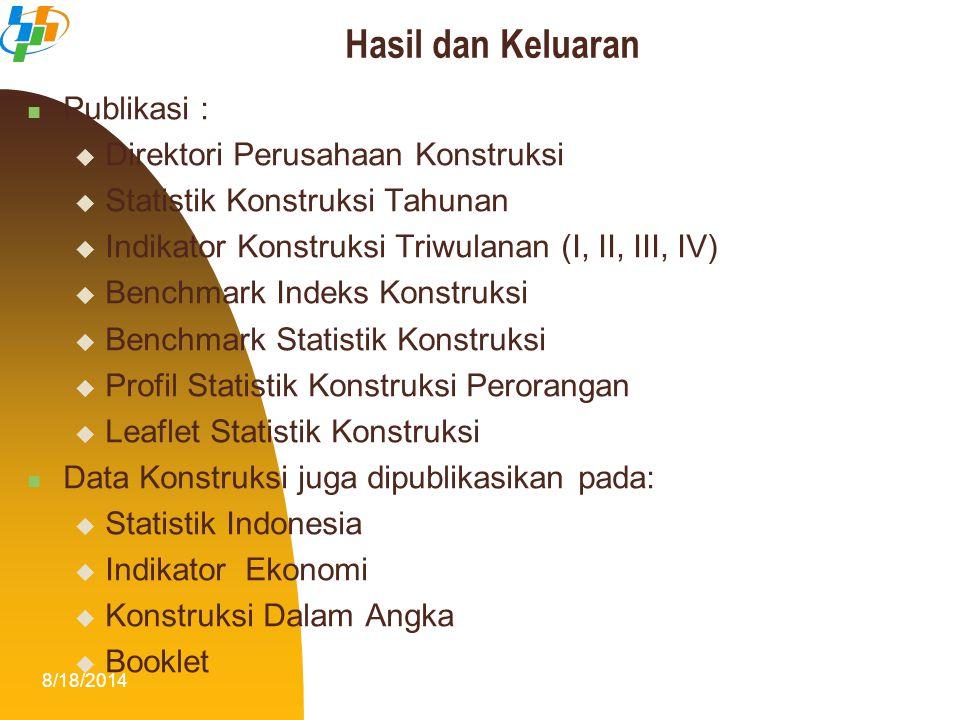 8/18/201418 Publikasi :  Direktori Perusahaan Konstruksi  Statistik Konstruksi Tahunan  Indikator Konstruksi Triwulanan (I, II, III, IV)  Benchmar