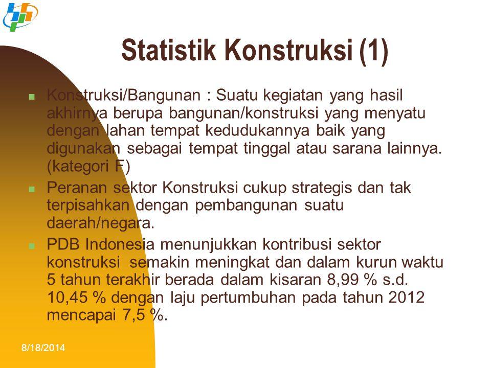 8/18/20142 Statistik Konstruksi (1) Konstruksi/Bangunan : Suatu kegiatan yang hasil akhirnya berupa bangunan/konstruksi yang menyatu dengan lahan temp