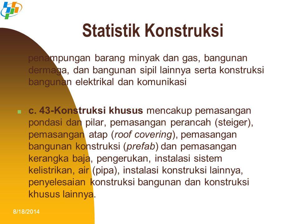 8/18/20146 Survei yang dilakukan di Subdit Statistik Konstruksi antara lain :  Updating Direktori Perusahaan Konstruksi (UDP)  Survei Perusahaan Konstruksi Tahunan (SKTh)  Survei Perusahaan Konstruksi Triwulanan (SKTr)  Survei Usaha Konstruksi Perorangan (SKP) Statistik Konstruksi