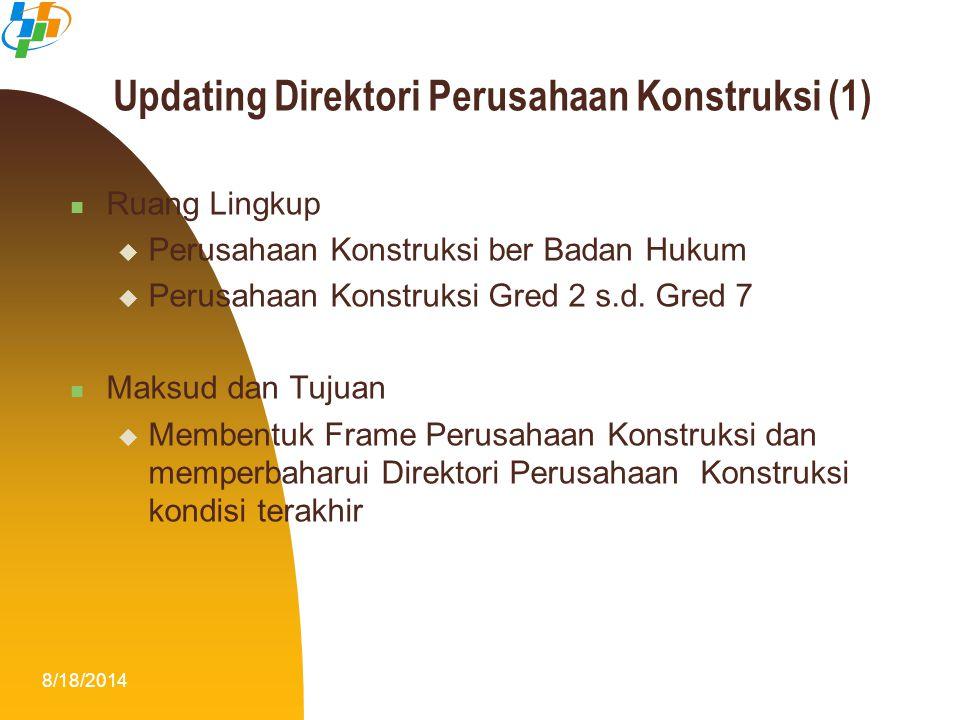 8/18/20147 Updating Direktori Perusahaan Konstruksi (1) Ruang Lingkup  Perusahaan Konstruksi ber Badan Hukum  Perusahaan Konstruksi Gred 2 s.d. Gred