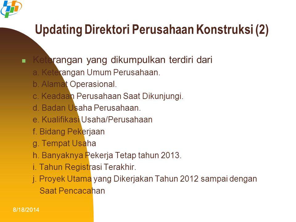 8/18/20148 Updating Direktori Perusahaan Konstruksi (2) Keterangan yang dikumpulkan terdiri dari a. Keterangan Umum Perusahaan. b. Alamat Operasional.