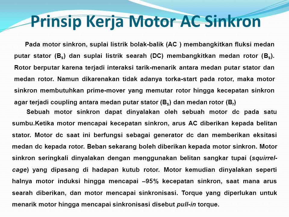 Prinsip Kerja Motor AC Sinkron Sebuah motor sinkron dapat dinyalakan oleh sebuah motor dc pada satu sumbu.Ketika motor mencapai kecepatan sinkron, aru