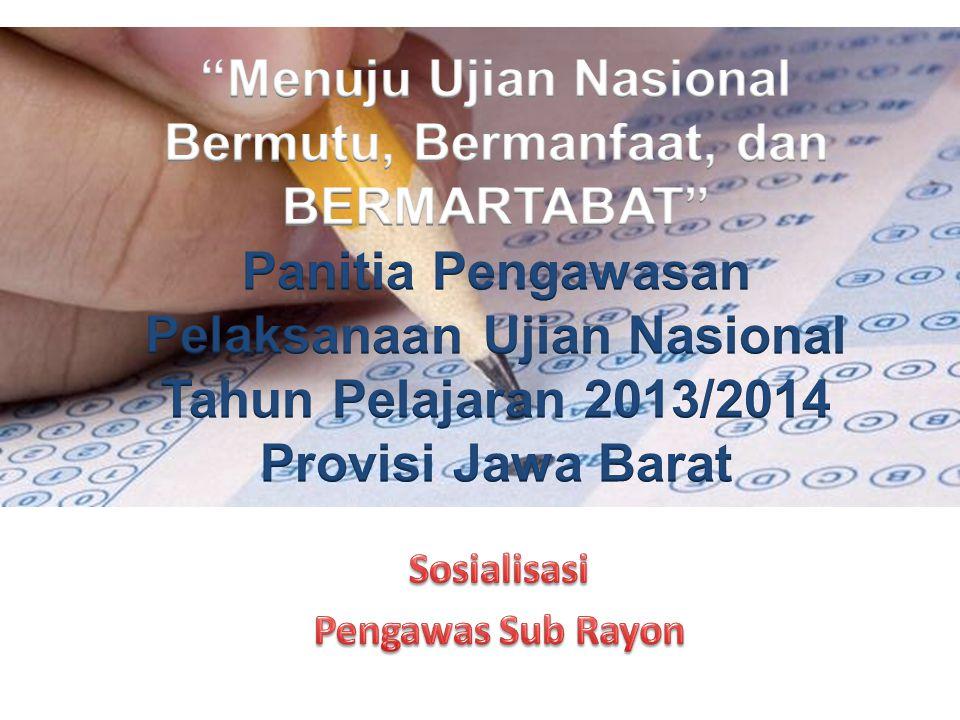 Pelaksana Kabupaten/Kota Unsur: Dinas Pendidikan Kab/Kota, KanKemenag Tugas: Melaksanakan, mengkoordinasi dan mengawasi pelaksanaan UN di Satuan Pendidikan pada tingkat Kabupaten/Kota
