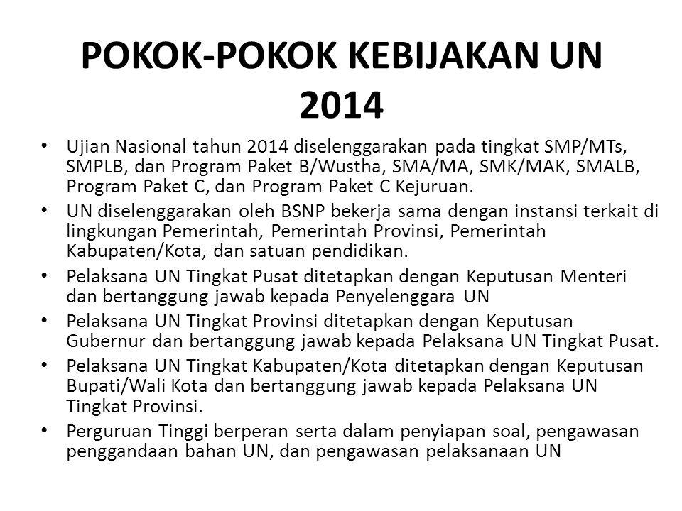 POKOK-POKOK KEBIJAKAN UN 2014 Ujian Nasional tahun 2014 diselenggarakan pada tingkat SMP/MTs, SMPLB, dan Program Paket B/Wustha, SMA/MA, SMK/MAK, SMAL