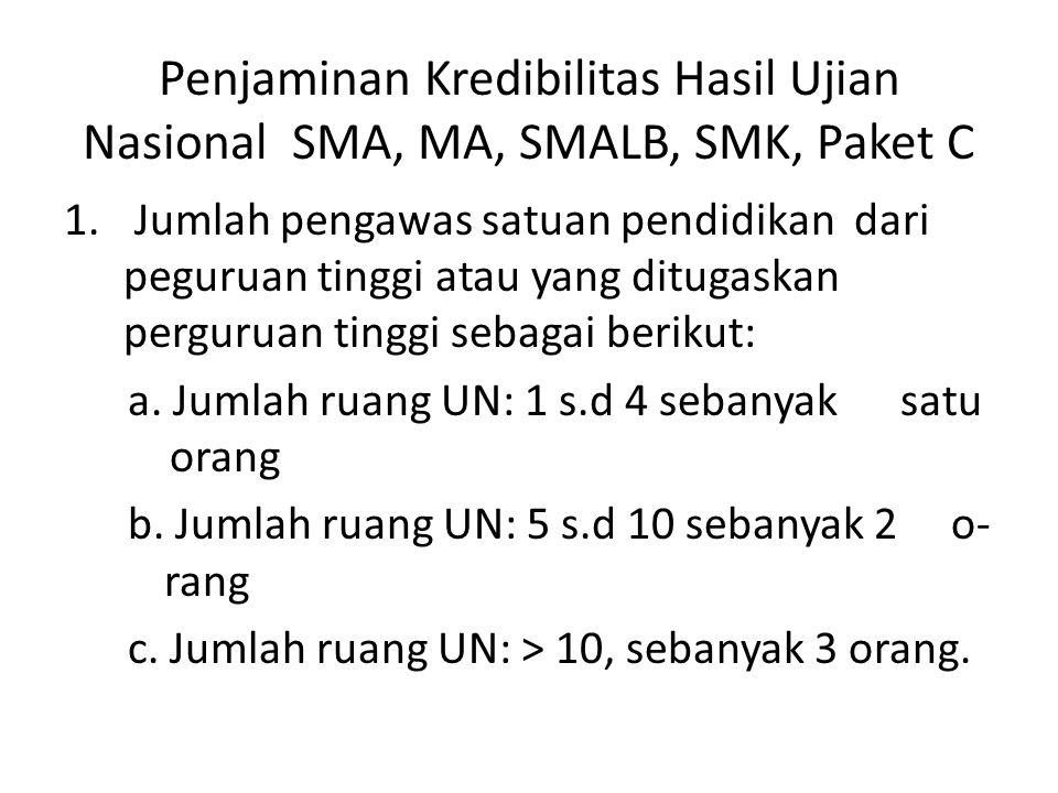 Penjaminan Kredibilitas Hasil Ujian Nasional SMA, MA, SMALB, SMK, Paket C 1. Jumlah pengawas satuan pendidikan dari peguruan tinggi atau yang ditugask