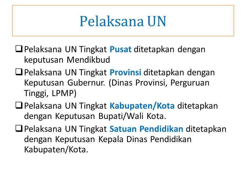  Pelaksana UN Tingkat Pusat ditetapkan dengan keputusan Mendikbud  Pelaksana UN Tingkat Provinsi ditetapkan dengan Keputusan Gubernur. (Dinas Provin