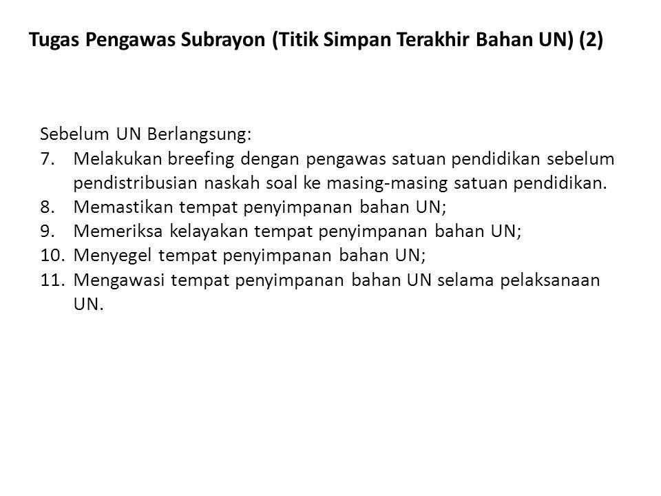 Tugas Pengawas Subrayon (Titik Simpan Terakhir Bahan UN) (2) Sebelum UN Berlangsung: 7.Melakukan breefing dengan pengawas satuan pendidikan sebelum pe