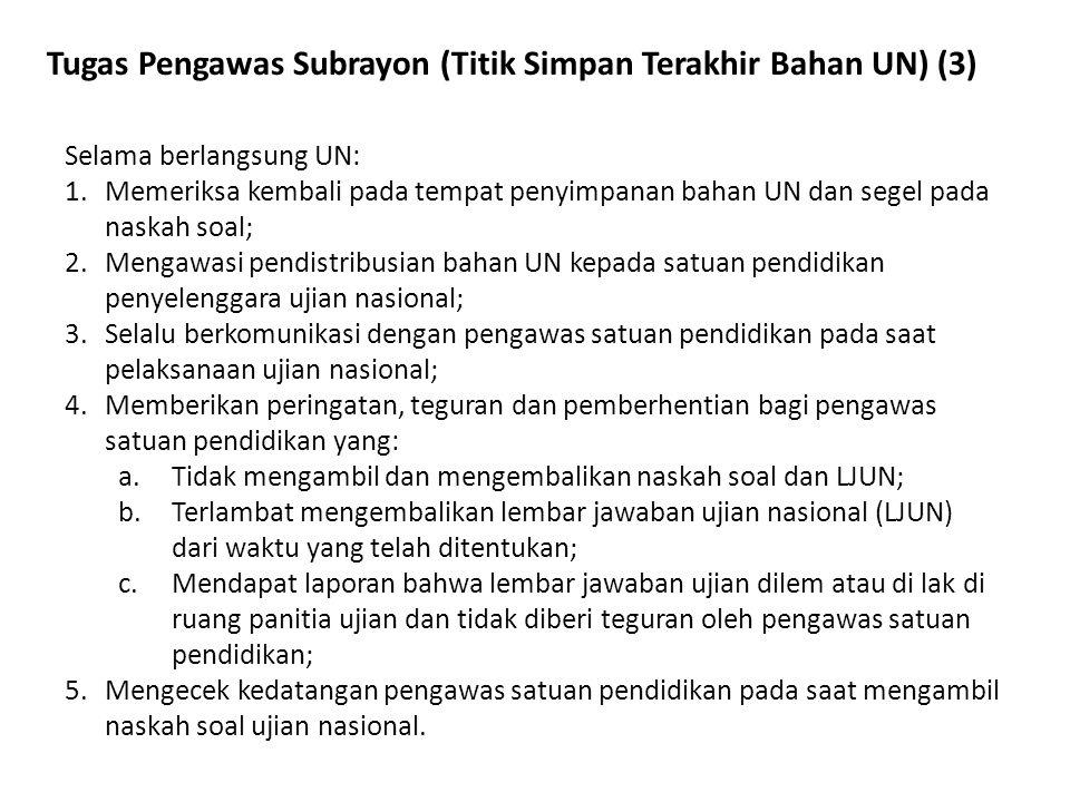 Tugas Pengawas Subrayon (Titik Simpan Terakhir Bahan UN) (3) Selama berlangsung UN: 1.Memeriksa kembali pada tempat penyimpanan bahan UN dan segel pad